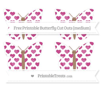 Free Mulberry Purple Heart Pattern Medium Butterfly Cut Outs