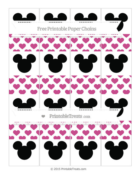 Free Mulberry Purple Heart Pattern Mickey Mouse Paper Chains