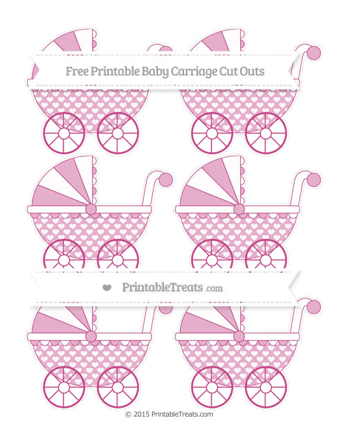 Free Mulberry Purple Heart Pattern Small Baby Carriage Cut Outs