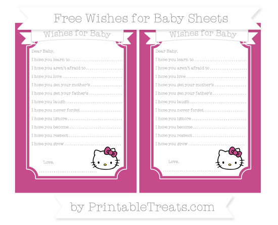 Free Mulberry Purple Hello Kitty Wishes for Baby Sheets
