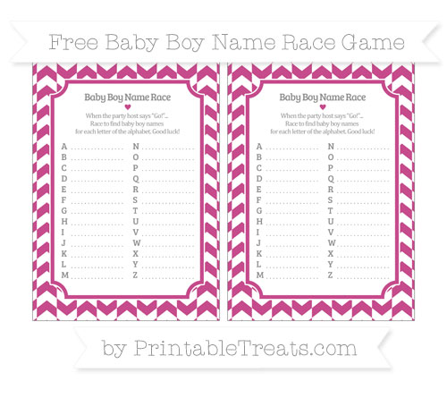 Free Mulberry Purple Herringbone Pattern Baby Boy Name Race Game