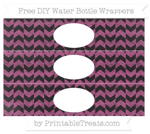Free Mulberry Purple Herringbone Pattern Chalk Style DIY Water Bottle Wrappers