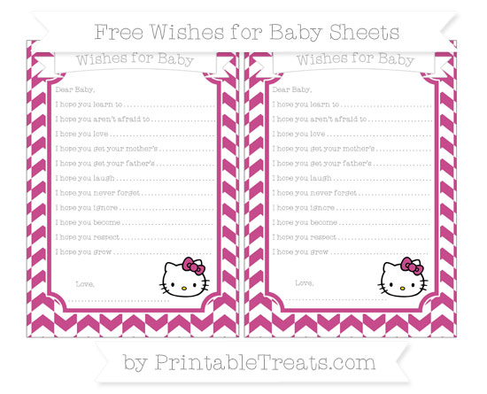 Free Mulberry Purple Herringbone Pattern Hello Kitty Wishes for Baby Sheets