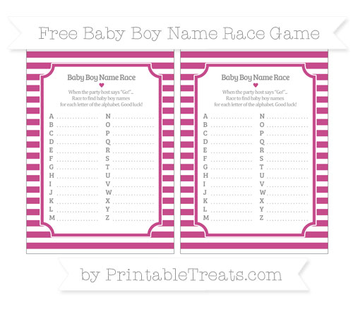 Free Mulberry Purple Horizontal Striped Baby Boy Name Race Game