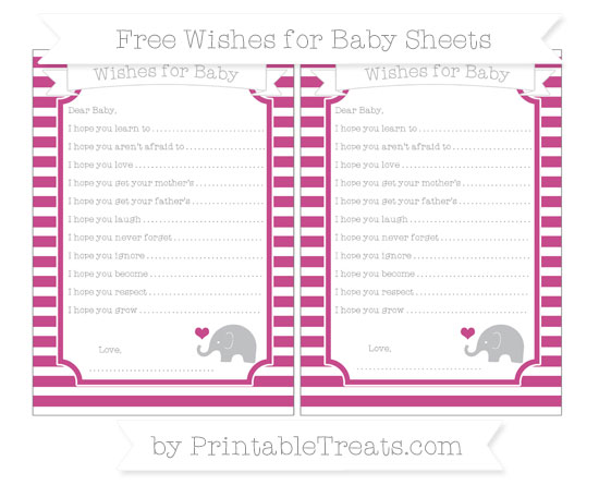 Free Mulberry Purple Horizontal Striped Baby Elephant Wishes for Baby Sheets