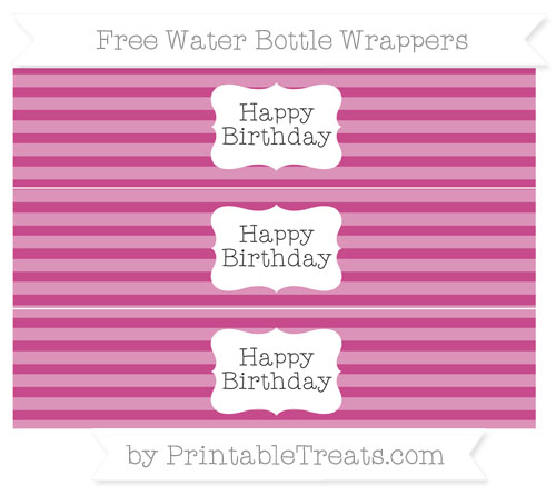 Free Mulberry Purple Horizontal Striped Happy Birhtday Water Bottle Wrappers