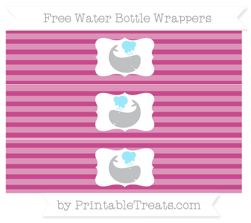Free Mulberry Purple Horizontal Striped Whale Water Bottle Wrappers