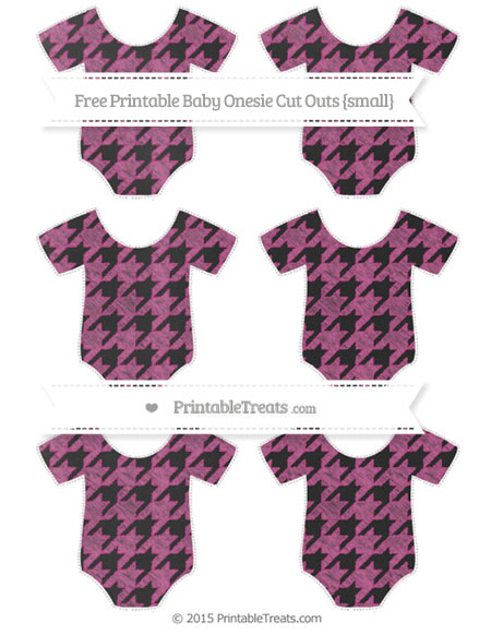 Free Mulberry Purple Houndstooth Pattern Chalk Style Small Baby Onesie Cut Outs