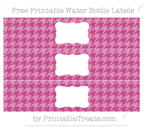 Free Mulberry Purple Houndstooth Pattern Water Bottle Labels