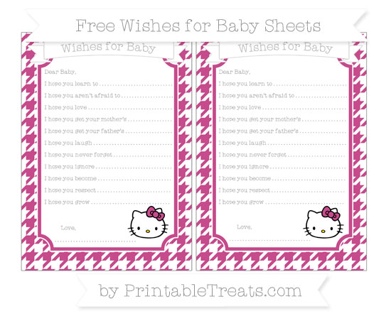 Free Mulberry Purple Houndstooth Pattern Hello Kitty Wishes for Baby Sheets