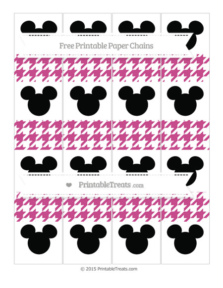 Free Mulberry Purple Houndstooth Pattern Mickey Mouse Paper Chains