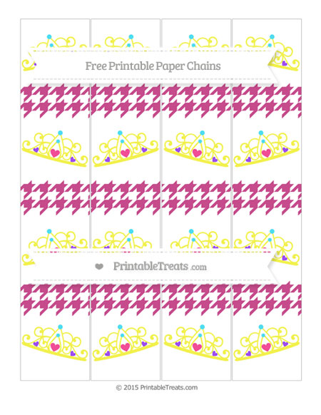 Free Mulberry Purple Houndstooth Pattern Princess Tiara Paper Chains