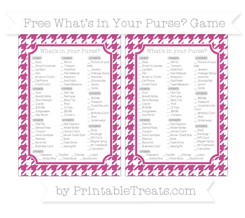 Free Mulberry Purple Houndstooth Pattern What's in Your Purse Baby Shower Game