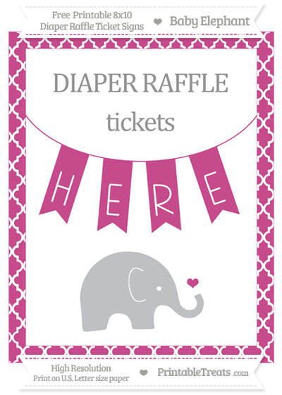 Free Mulberry Purple Moroccan Tile Baby Elephant 8x10 Diaper Raffle Ticket Sign