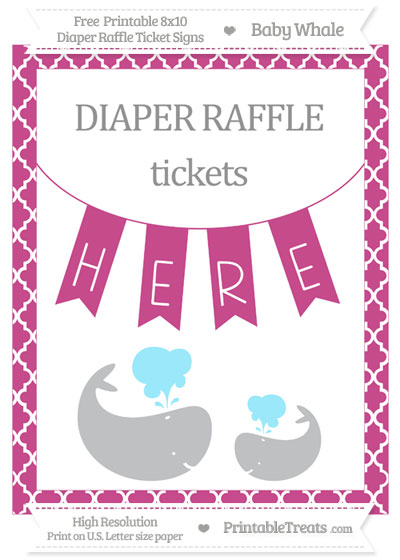 Free Mulberry Purple Moroccan Tile Baby Whale 8x10 Diaper Raffle Ticket Sign