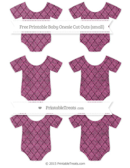 Free Mulberry Purple Moroccan Tile Chalk Style Small Baby Onesie Cut Outs
