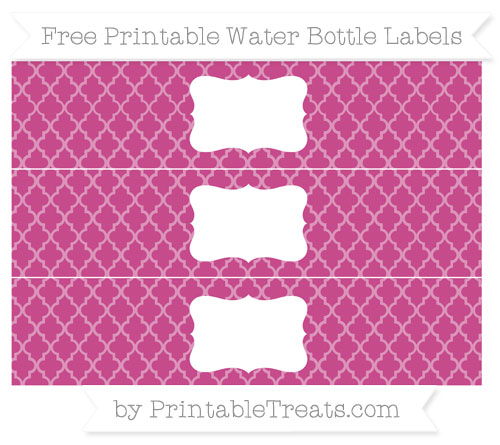 Free Mulberry Purple Moroccan Tile Water Bottle Labels