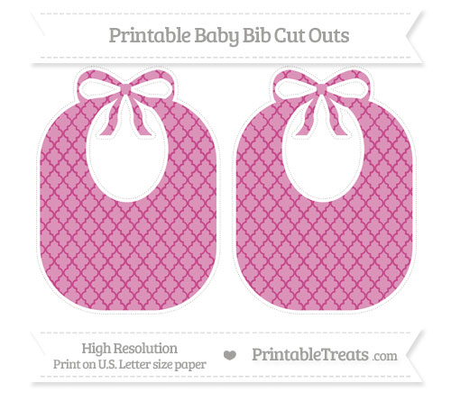 Free Mulberry Purple Moroccan Tile Large Baby Bib Cut Outs
