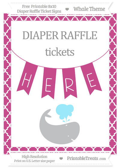 Free Mulberry Purple Moroccan Tile Whale 8x10 Diaper Raffle Ticket Sign