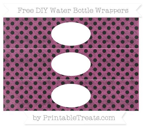 Free Mulberry Purple Polka Dot Chalk Style DIY Water Bottle Wrappers