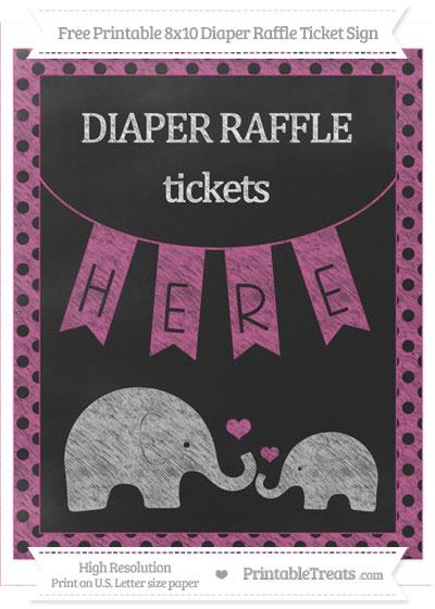 Free Mulberry Purple Polka Dot Chalk Style Elephant 8x10 Diaper Raffle Ticket Sign