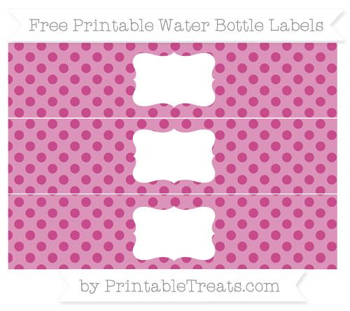 Free Mulberry Purple Polka Dot Water Bottle Labels