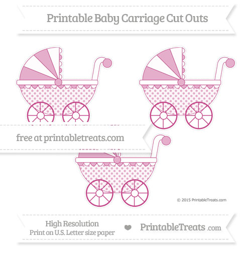 Free Mulberry Purple Polka Dot Medium Baby Carriage Cut Outs