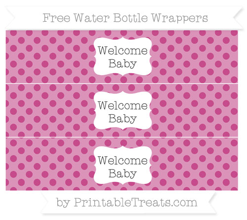 Free Mulberry Purple Polka Dot Welcome Baby Water Bottle Wrappers