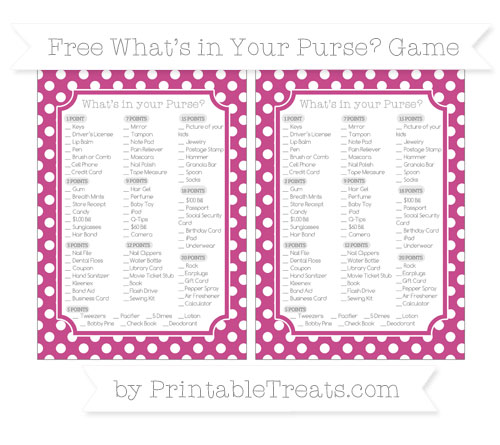 Free Mulberry Purple Polka Dot What's in Your Purse Baby Shower Game