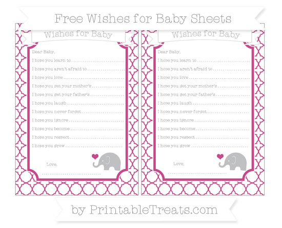 Free Mulberry Purple Quatrefoil Pattern Baby Elephant Wishes for Baby Sheets