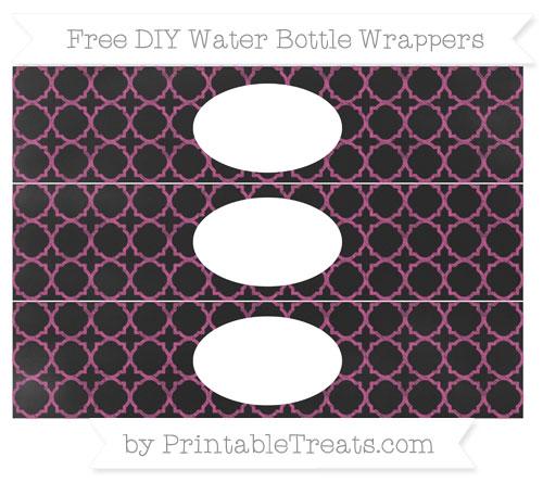 Free Mulberry Purple Quatrefoil Pattern Chalk Style DIY Water Bottle Wrappers