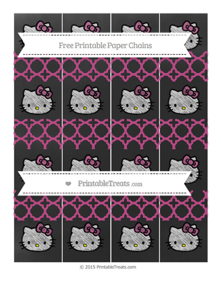 Free Mulberry Purple Quatrefoil Pattern Chalk Style Hello Kitty Paper Chains