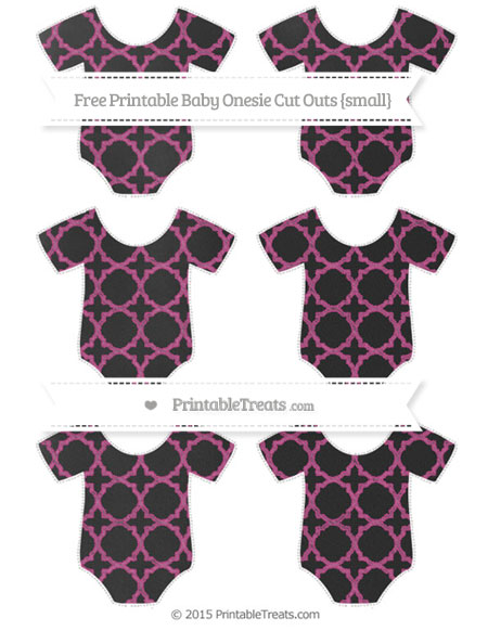 Free Mulberry Purple Quatrefoil Pattern Chalk Style Small Baby Onesie Cut Outs