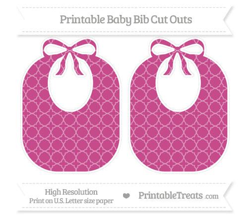 Free Mulberry Purple Quatrefoil Pattern Large Baby Bib Cut Outs