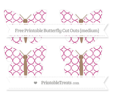 Free Mulberry Purple Quatrefoil Pattern Medium Butterfly Cut Outs