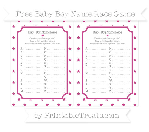Free Mulberry Purple Star Pattern Baby Boy Name Race Game