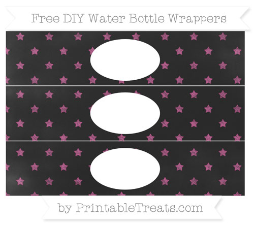Free Mulberry Purple Star Pattern Chalk Style DIY Water Bottle Wrappers