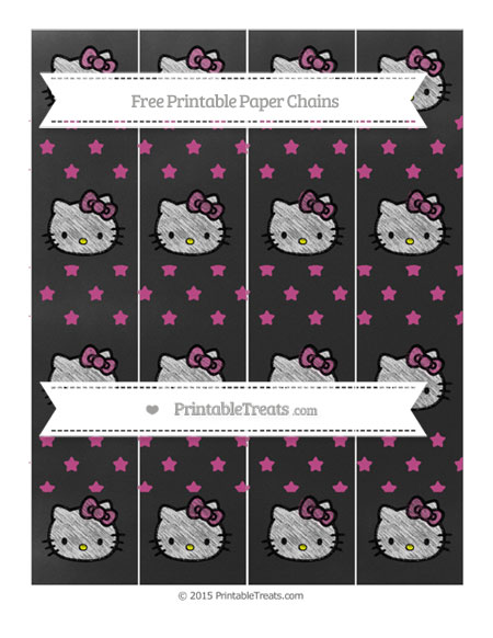 Free Mulberry Purple Star Pattern Chalk Style Hello Kitty Paper Chains