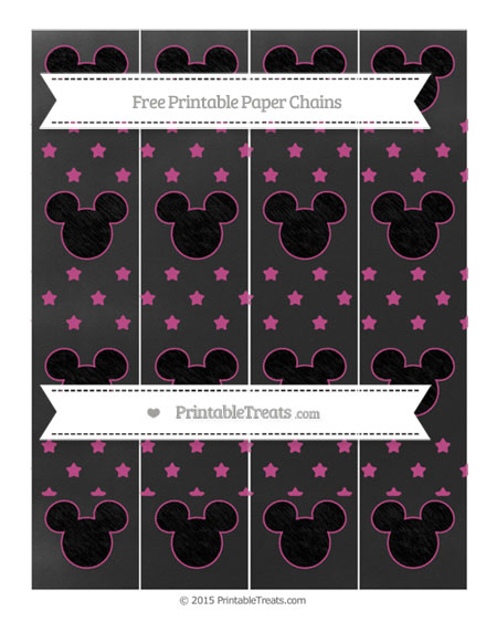 Free Mulberry Purple Star Pattern Chalk Style Mickey Mouse Paper Chains