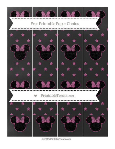 Free Mulberry Purple Star Pattern Chalk Style Minnie Mouse Paper Chains