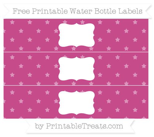 Free Mulberry Purple Star Pattern Water Bottle Labels