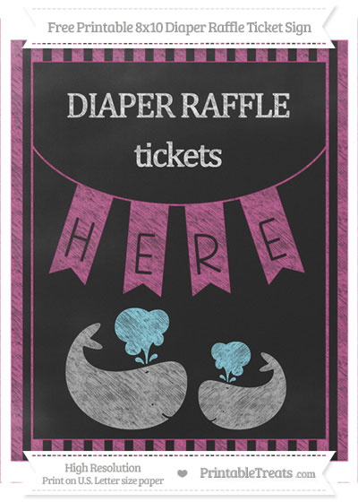 Free Mulberry Purple Striped Chalk Style Baby Whale 8x10 Diaper Raffle Ticket Sign