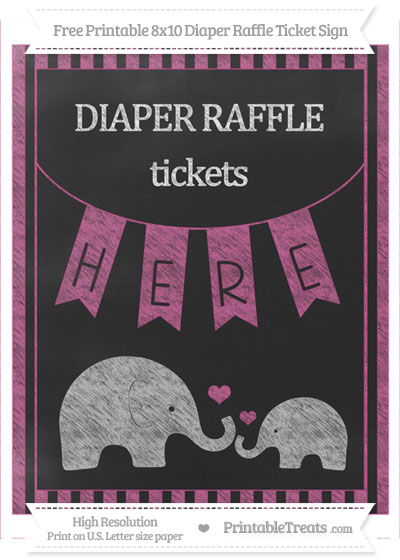 Free Mulberry Purple Striped Chalk Style Elephant 8x10 Diaper Raffle Ticket Sign