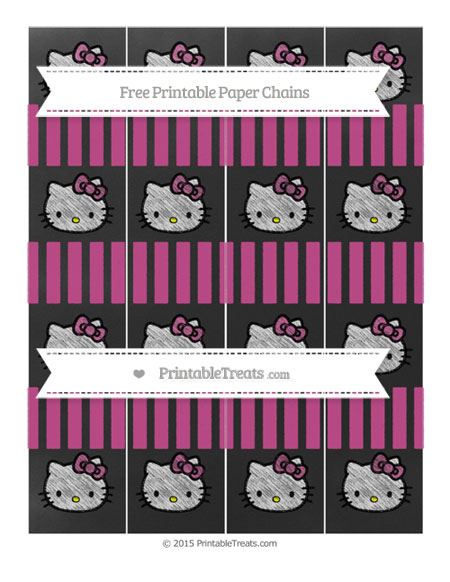 Free Mulberry Purple Striped Chalk Style Hello Kitty Paper Chains