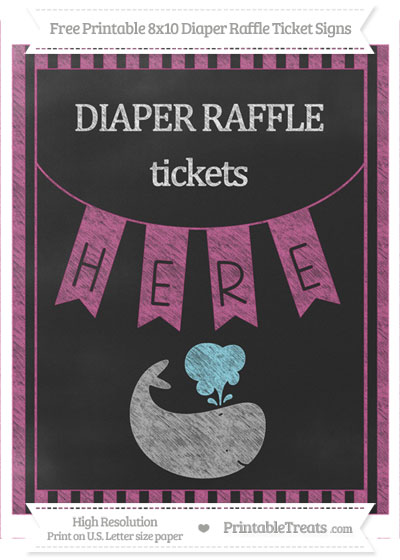 Free Mulberry Purple Striped Chalk Style Whale 8x10 Diaper Raffle Ticket Sign
