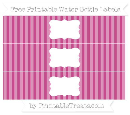 Free Mulberry Purple Striped Water Bottle Labels