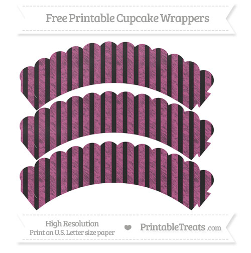Free Mulberry Purple Striped Pattern Chalk Style Scalloped Cupcake Wrappers