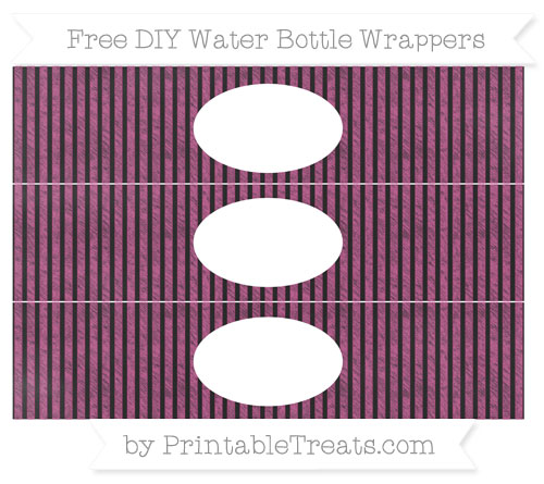 Free Mulberry Purple Thin Striped Pattern Chalk Style DIY Water Bottle Wrappers