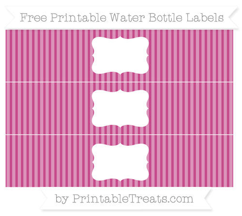 Free Mulberry Purple Thin Striped Pattern Water Bottle Labels