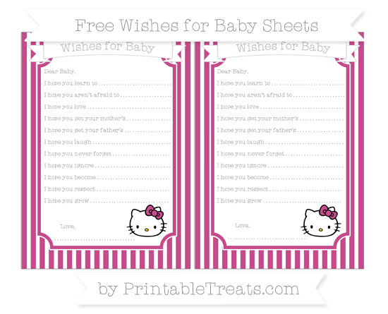 Free Mulberry Purple Thin Striped Pattern Hello Kitty Wishes for Baby Sheets